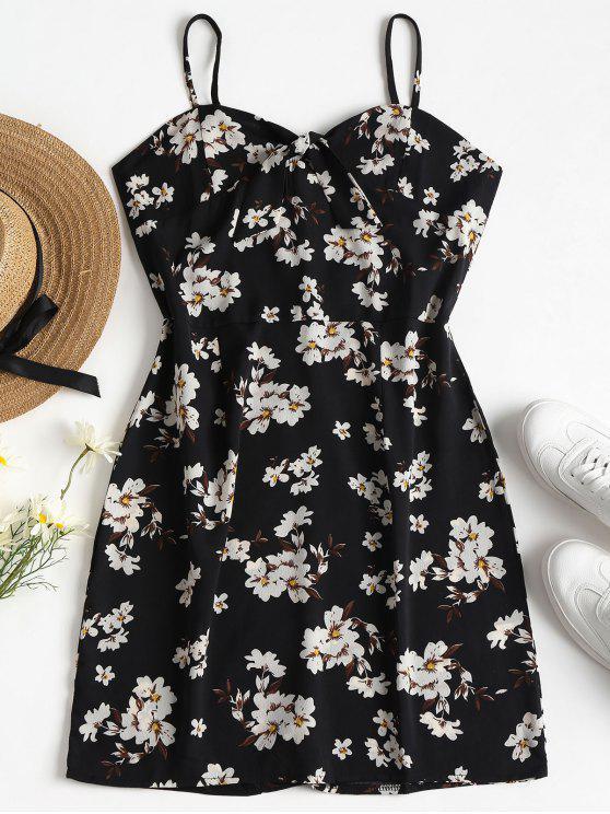 shop Floral Print Bunny Tie Cami Mini Dress - BLACK L