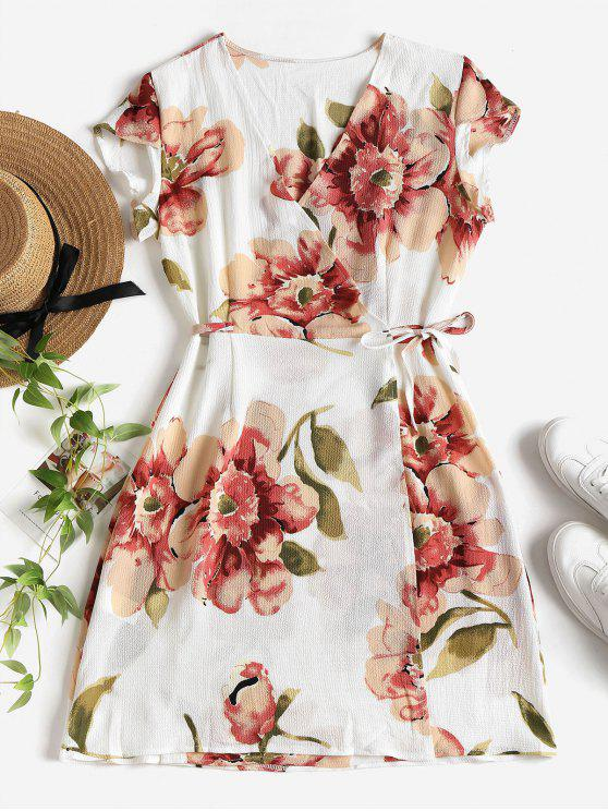 fashion Floral Cap Sleeve Wrap Mini Dress - WHITE L
