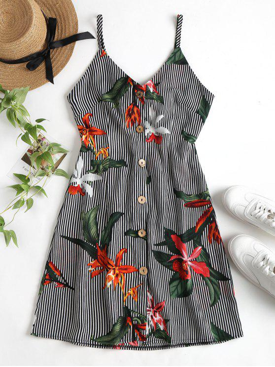 fancy Stripe Floral Button Front Cami Mini Dress - MULTI S
