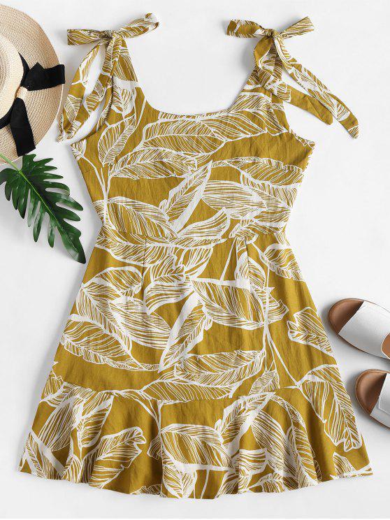 Minifalda con hombros descubiertos y hombros descubiertos - Amarillo L