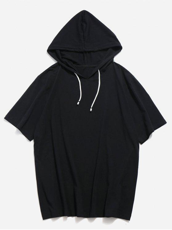 shop Drawstring Short Sleeve Hooded T-shirt - BLACK M