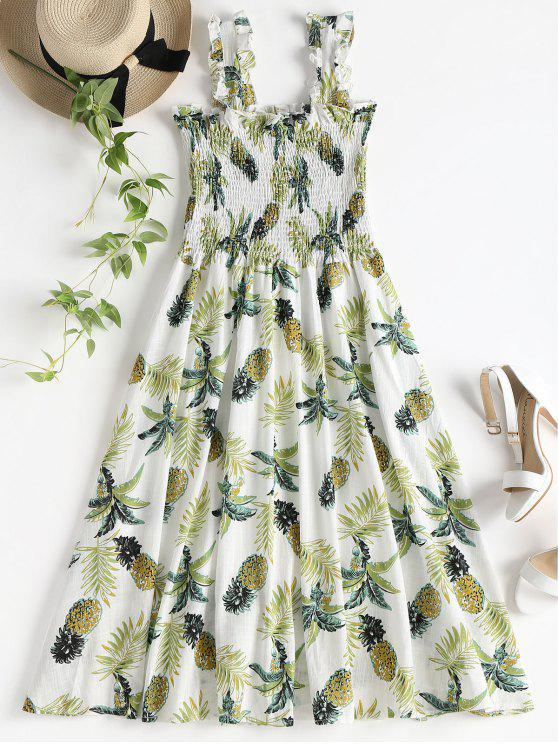 Smocked Pineapple Print Vestido Midi - Multi S