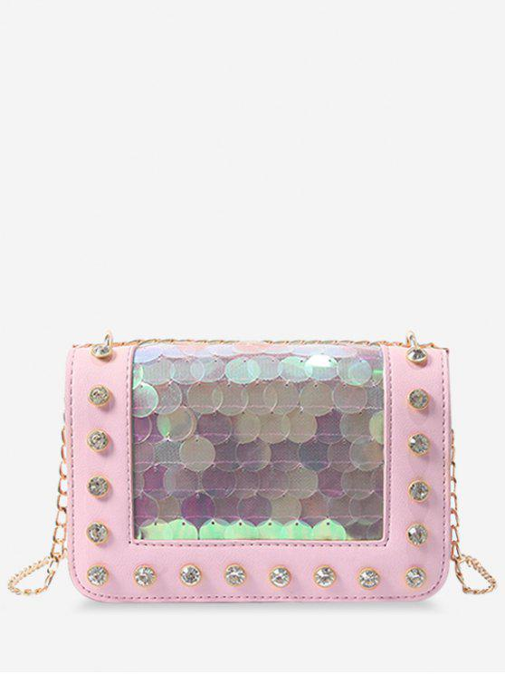 hot Metal Chain Rhinestone Sequins Decorated Crossbody Bag - LIGHT PINK