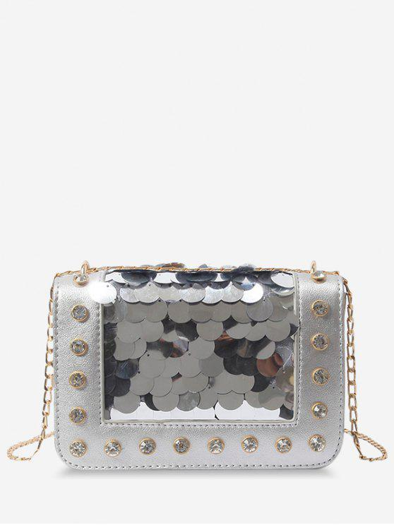outfit Metal Chain Rhinestone Sequins Decorated Crossbody Bag - SILVER