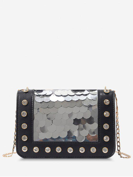 outfits Metal Chain Rhinestone Sequins Decorated Crossbody Bag - BLACK