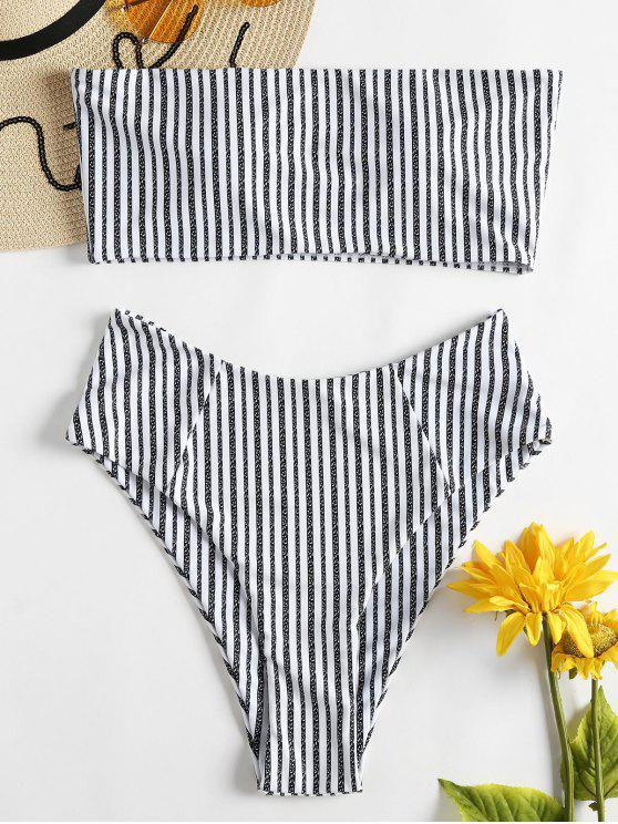 Bikini Bandeau Taille Haute et à Rayures - Noir M