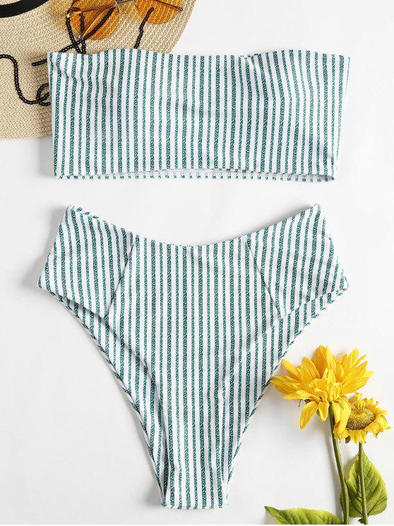 ارتفاع مخصر مقلم العصابة بيكيني ملابس السباحة - أخضر M