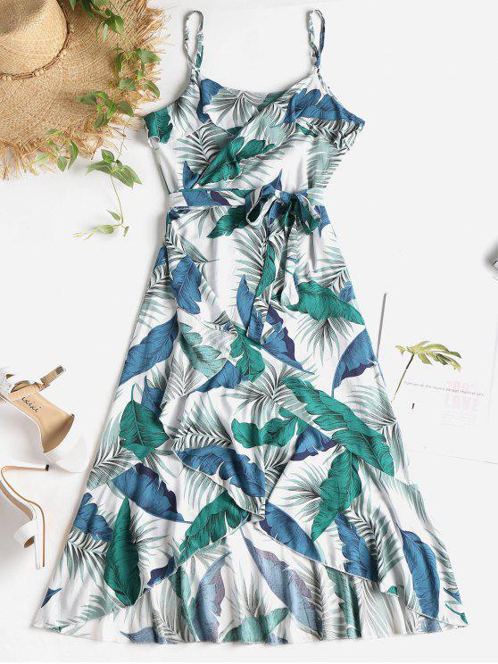 womens Palm Leaf Print Midi Wrap Dress - MULTI L