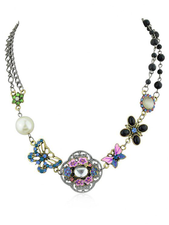 hot Flower Butterfly Design Faux Pearl Beads Rhinestone Necklace - SILVER
