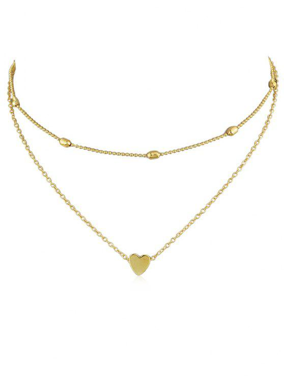 outfit Heart Design Decoration Layered Necklace - GOLD