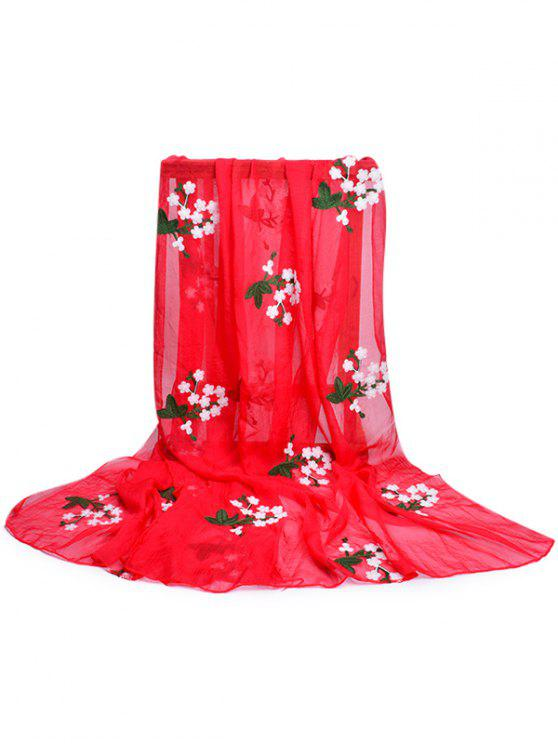 Lenço de seda floral bordado do xaile - Motor de Incêndio Vermelho