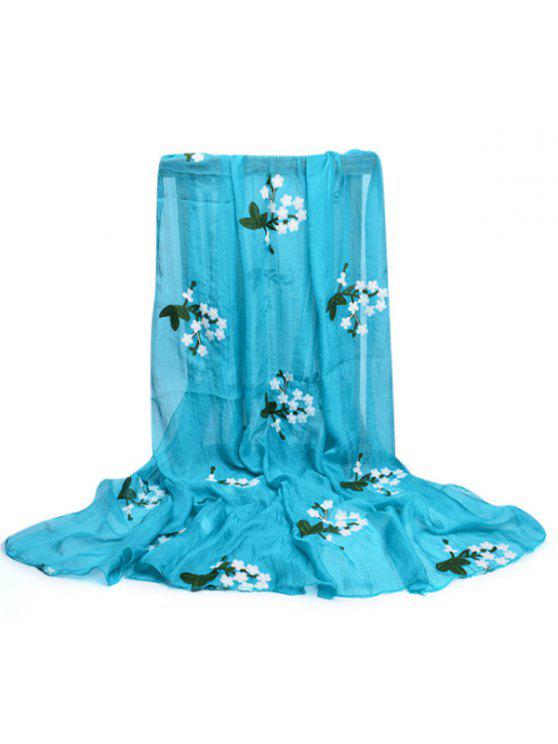 fancy Floral Embroidery Silky Shawl Scarf - DAY SKY BLUE