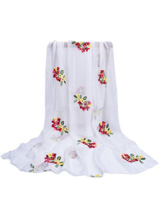 women Floral Pattern Embellished Silky Long Scarf - WHITE
