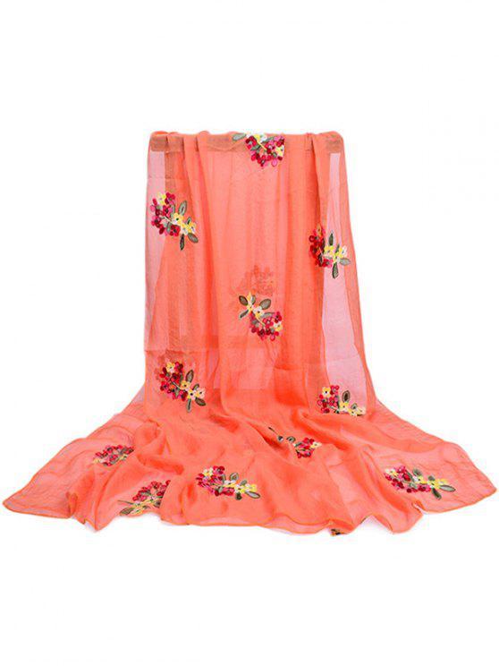 lady Floral Pattern Embellished Silky Long Scarf - PUMPKIN ORANGE