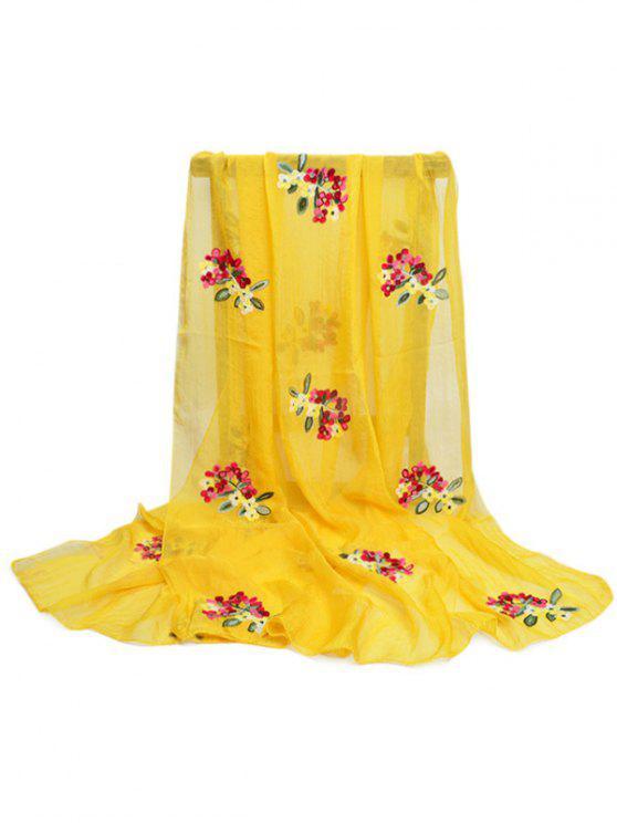 Lenço longo de seda Embellished do teste padrão floral - Amarelo