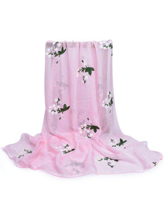 chic Floral Embroidery Silky Shawl Scarf - LIGHT PINK