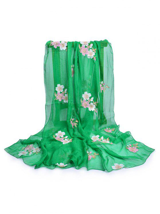 fancy Fresh Floral Decorative Spring Fall Scarf - CLOVER GREEN