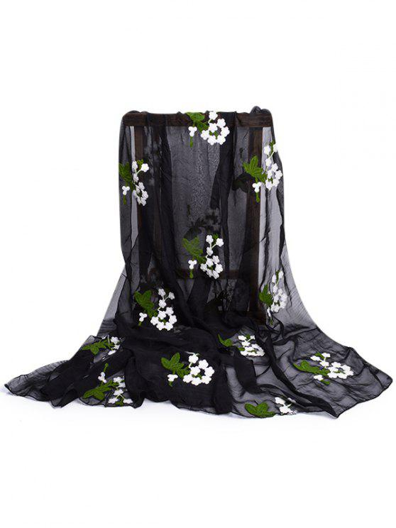 unique Floral Embroidery Silky Shawl Scarf - BLACK