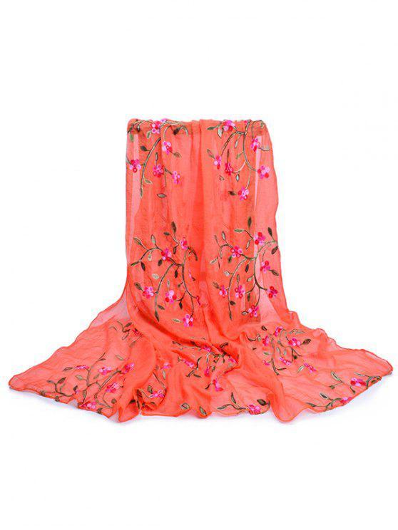 Bordado de flores larga bufanda sedosa - Naranja de Calabaza