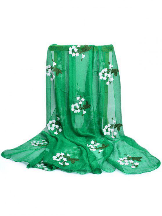 Lenço de seda floral bordado do xaile - Verde Claro do Mar
