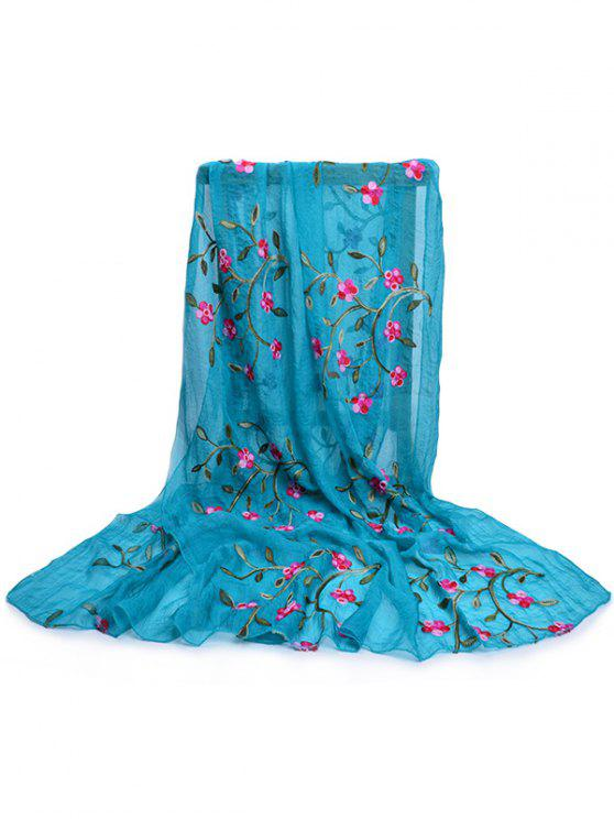 womens Flower Embroidery Silky Long Scarf - BLUE IVY