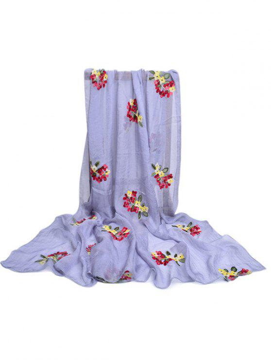women Floral Pattern Embellished Silky Long Scarf - PLATINUM