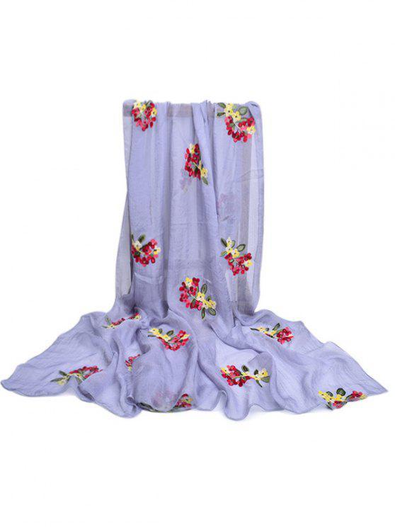 Sciarpa lunga in seta decorata con motivo floreale - Platino