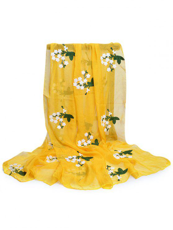 women's Floral Embroidery Silky Shawl Scarf - MUSTARD