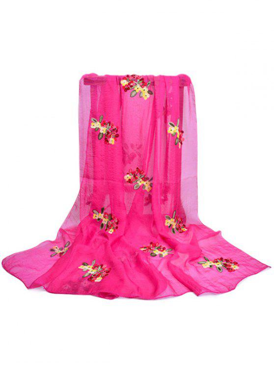 lady Floral Pattern Embellished Silky Long Scarf - ROSE RED