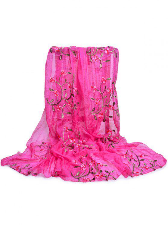 Bordado de flores larga bufanda sedosa - Rosa Roja