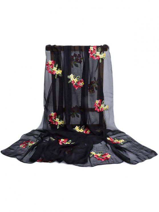 outfit Floral Pattern Embellished Silky Long Scarf - BLACK