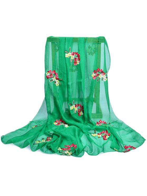 outfits Floral Pattern Embellished Silky Long Scarf - SPRING GREEN
