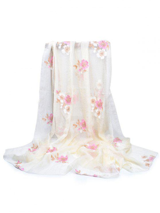 shops Fresh Floral Decorative Spring Fall Scarf - BEIGE