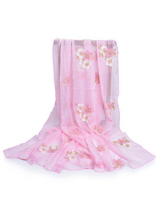 latest Fresh Floral Decorative Spring Fall Scarf - PIG PINK