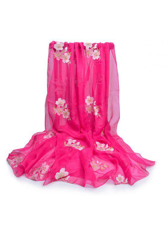 Sciarpa Lunga Setosa Con Motivo Floreale - Rosa Rosso