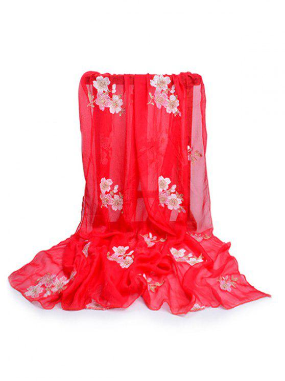 chic Fresh Floral Decorative Spring Fall Scarf - FIRE ENGINE RED