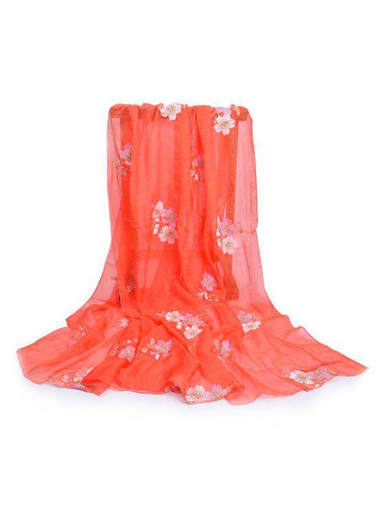 Sciarpa Lunga Setosa Con Motivo Floreale - Arancia Zucca