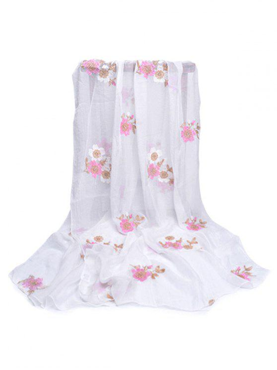 sale Fresh Floral Decorative Spring Fall Scarf - WHITE