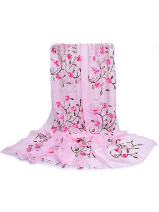 affordable Flower Embroidery Silky Long Scarf - PIG PINK