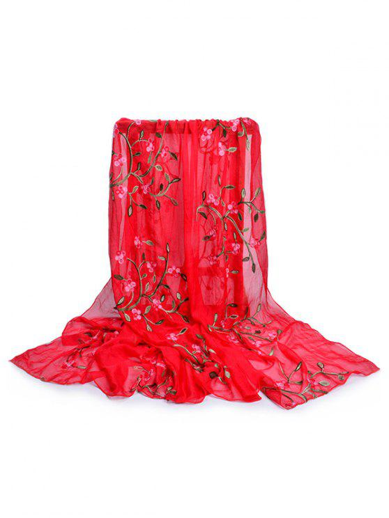 womens Flower Embroidery Silky Long Scarf - FIRE ENGINE RED