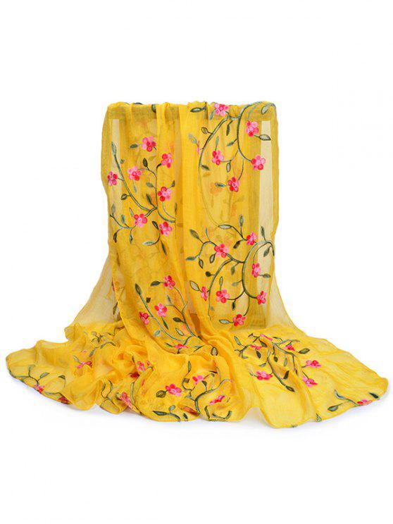 women Flower Embroidery Silky Long Scarf - YELLOW