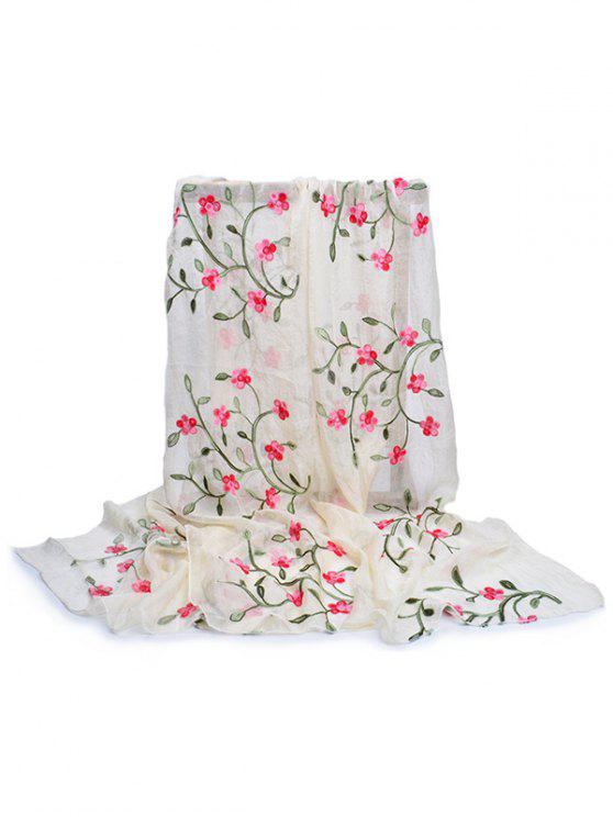 ladies Flower Embroidery Silky Long Scarf - BEIGE