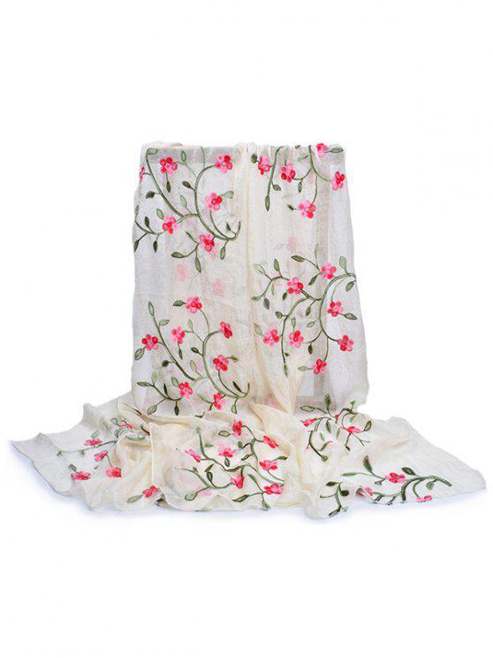Bordado de flores larga bufanda sedosa - Beis