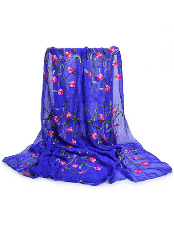 online Flower Embroidery Silky Long Scarf - ROYAL BLUE