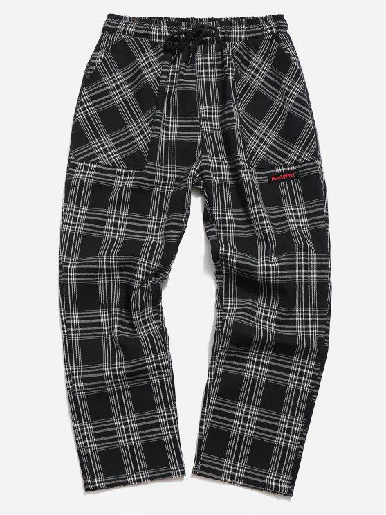 Pantaloni A Quadri Con Coulisse - Nero XL