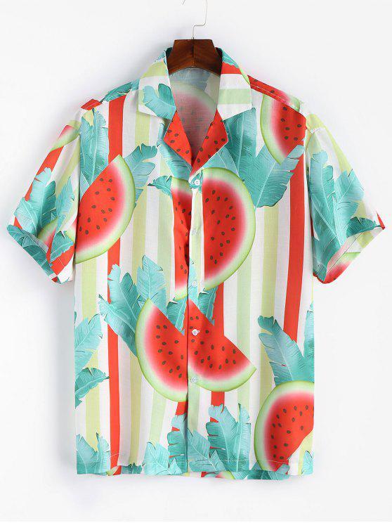 Camisa entalhada impressa melancia do colar - Verde Claro do Mar L