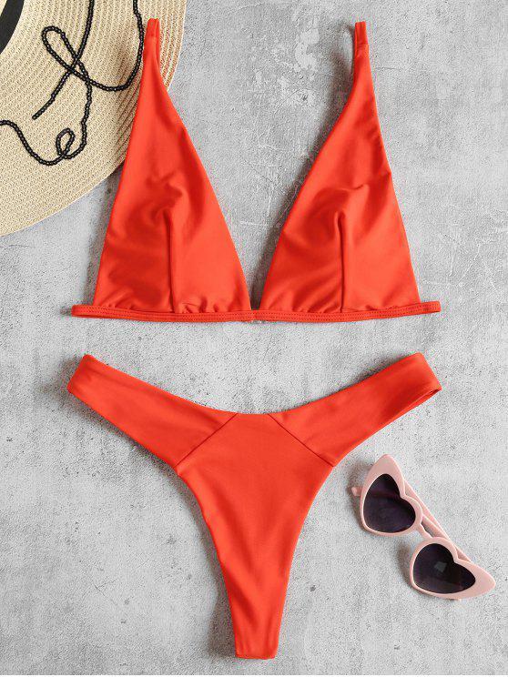 Bikini Perizoma Con Scollo Profondo - Arancione brillante S