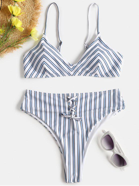 Bikini A Vita Alta A Righe Con Lacci - Blu Grigio S