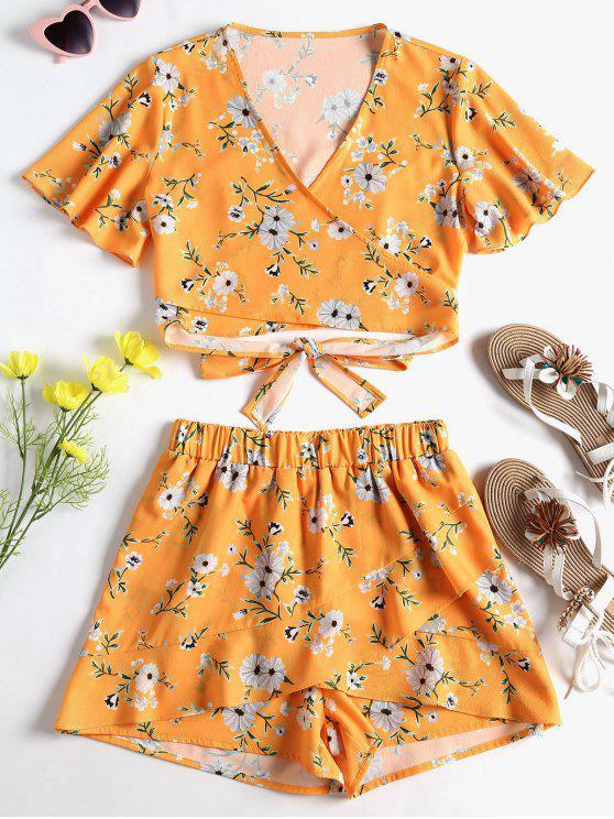 Conjunto de pantalones anudados con lazo floral - Amarilla de Abeja  L