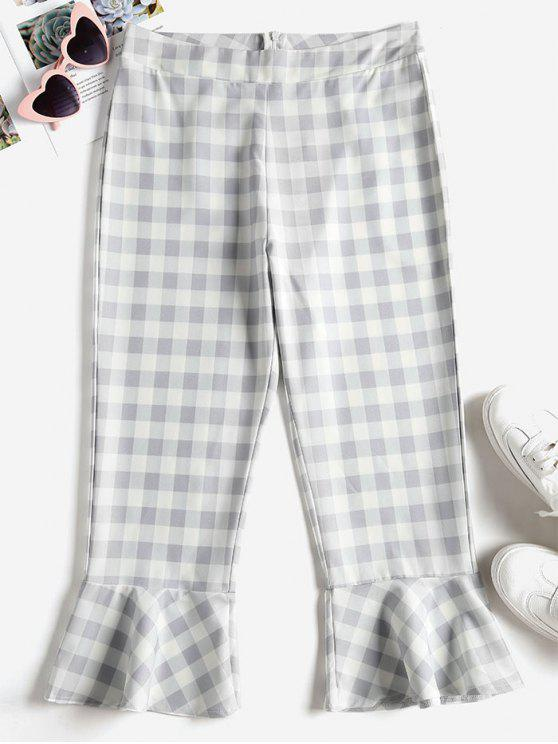 women Capri Plaid Flared Pants - LIGHT GRAY S